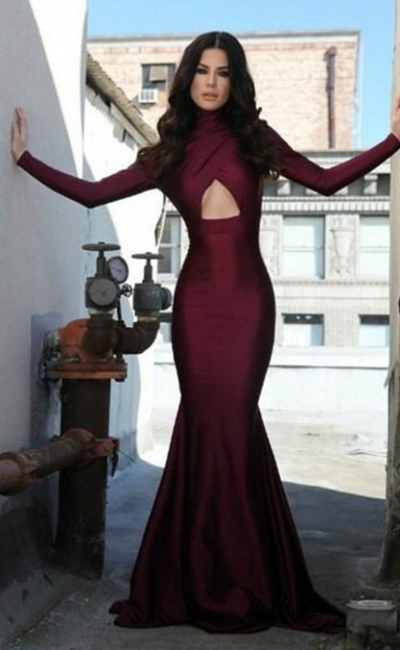 High Collar Sexy Long Sleeve Evening Dress Burgundy Mermaid Open Back Formal Occasion Dress