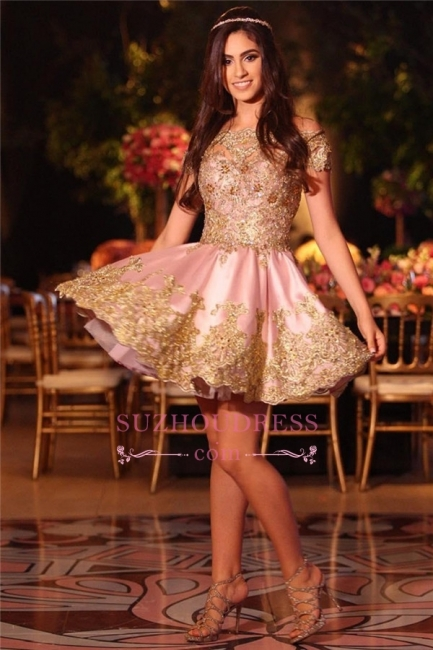 Pink Appliques Short  Online Lace Gold Off-The-Shoulder Lovely Homecoming Dress