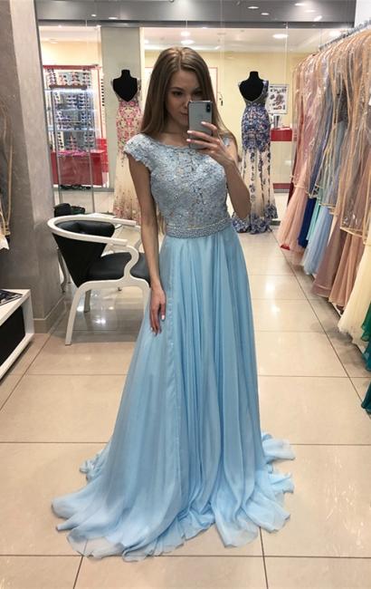 Elegant Blue Chiffon Evening Dress  | Lace Cap-Sleeve Long Formal Dress
