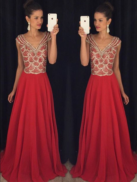 New Arrival V-Neck Chiffon  Prom Dress with Crystals Latest A-Line Formal Occasion Dresses
