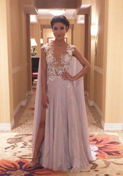 Latest A-Line Chiffon Sweep Train Prom Dress Lace Side Slit Formal Occasion Dress