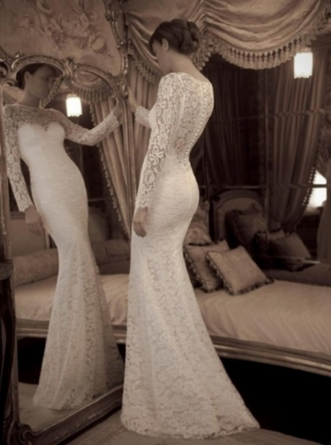 Lace Jewel Mermaid Wedding Dresses  Long Sleeve Charming Bridal Gowns with Buttons