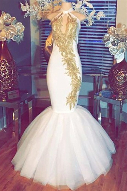 Sexy Gold Beads Appliques Prom Dress | Halter Mermaid  Evening Gown  BA8790