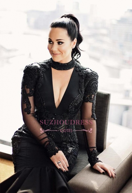 Hi-lo Puffy Mermaid Black Long-Sleeves Lace Appliques Deep-V-Neck Prom Dresses