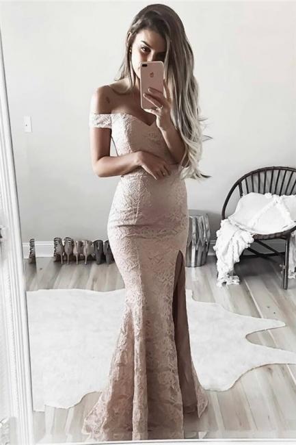 Sheath Full Lace Off The Shoulder Formal Dress   Side Slit Evening Gown BA6243