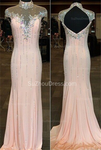 High Neck Chiffon Gorgeous Prom Gowns  Mermaid Evening Dresses with Beadings