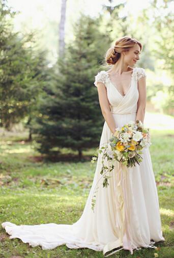 New Arrival Deep V-Neck Chiffon Bridal Gown A-Line Short Sleeve Ruffles Flower Wedding Dress
