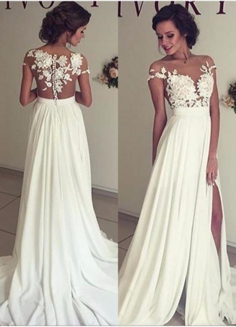 Stylish Lace Appliques Side Slit A-line Chiffon Beach Wedding Dresses | Bridal Gowns Online