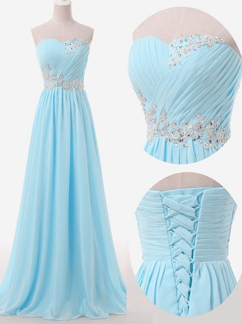Baby Blue Chiffon Sweetheart Long Prom Dress Beads Lace-up  Evening Dress BO9851