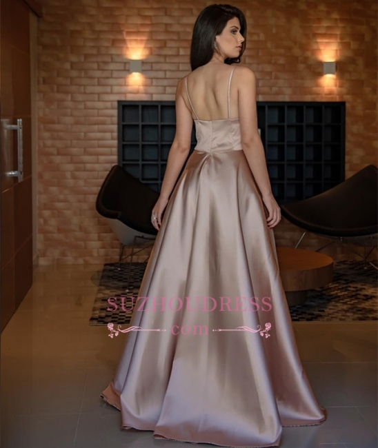 Simple V-Neck Sleeveless Prom Dress   Spaghetti-Straps A-line Evening Dresses