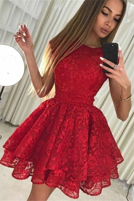 Simple A-Line Lace Short Homecoming Dresses |  Red Cap Sleeves Hoco Dresses