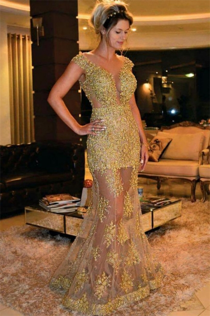 Gold Beads Appliques Sexy Evening Gowns Sheer Tulle Sleeveless Popular Formal Dress BA7572