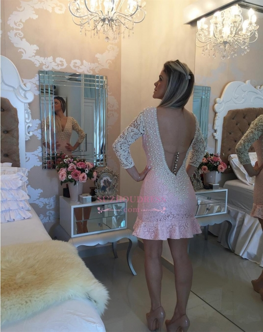 Bodycon Pearls Sexy Backless Mini Lace V-neck Homecoming Dress
