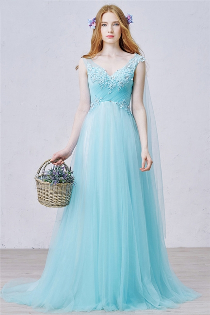 V Neck Blue A Line Evening Dress Tulle Open Back  Long Prom Dress with Beads