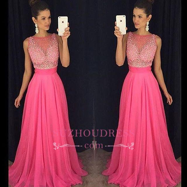 Fuchsia Newest Beadings Tulle A-Line Sleeveless Prom Dress