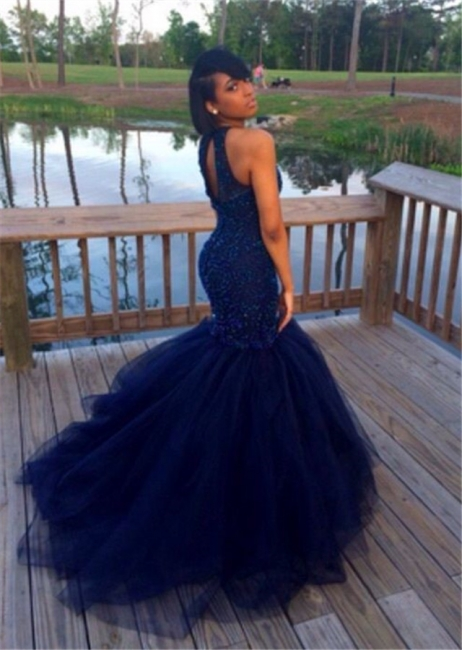 Sexy Mermaid Tulle Long Evening Dress Lace Sweep Train Latest Plus Size Special Occasion Dresses