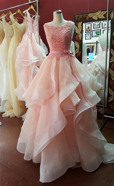 A-Line Pink Lace Tiered  Prom Dress Open Back Sleeveless Bowknot Party Gowns