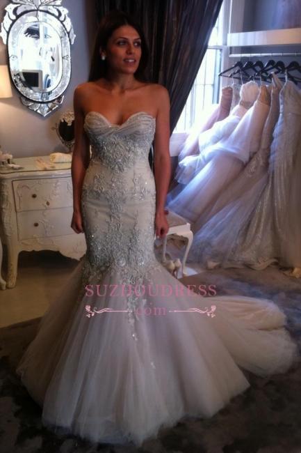 Beadings Sweetheart Elegant Mermaid Tulle Appliques Prom Dress