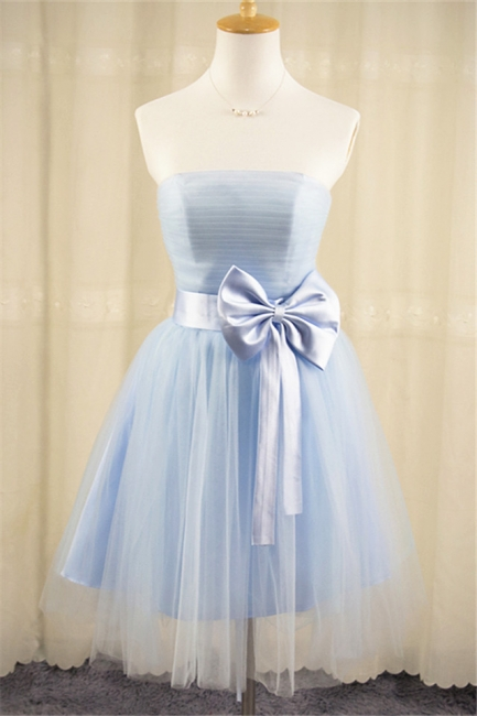 Strapless Tulle Short Cute Blue Homecoming Dress with Bowknot Lace-up Mini  Bridesmaid Dresses Under 100