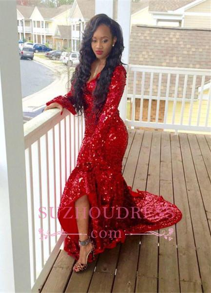 Red Mermaid Sequined  Sweep Train Gorgeous Hi-Lo Long-Sleeve Prom Dress BA6080
