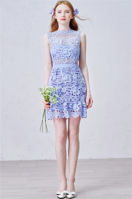 Lavender Short Lace Homecoming Dress  Summer Party Dress for Cocktail