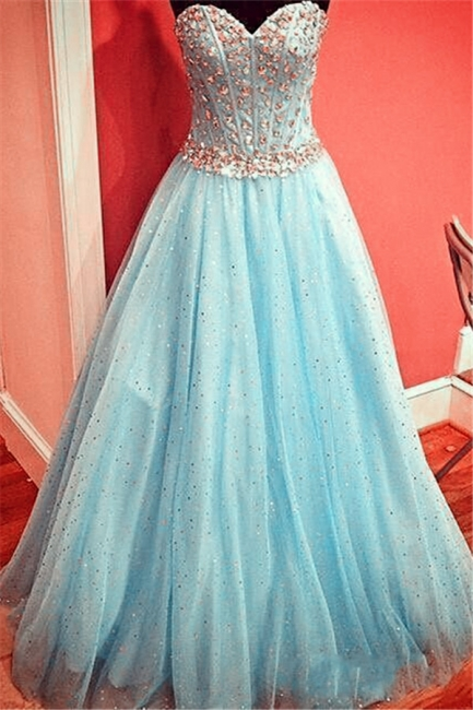 Sparkly Baby Blue Prom Dress  Sweetheart Evening Gowns with Crystals Belt