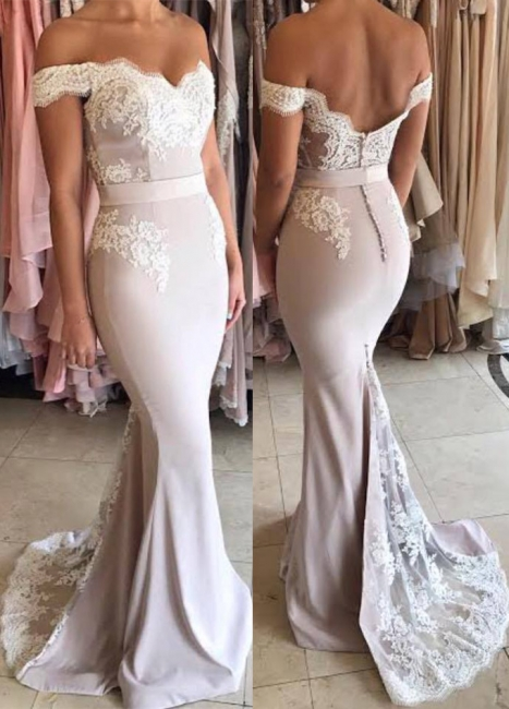 Off The Shoulder Lace Mermaid Formal Evening Dress   Open Back Ball Dresses BA7854