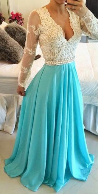 Long Turquoise Lace Dress for Formal Occasions Long Sleeve Prom Dress