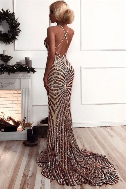 Sexy Champagne Stripes Formal Evening Dress | V-neck Open Back Ball Dress with Long Train BA8496