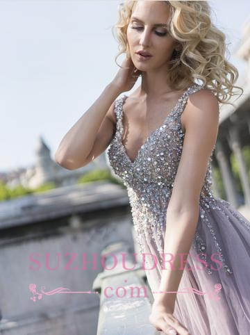 A-line V-Neck Prom Dresses  | Tulle Crystal Sleeveless Evening Gowns