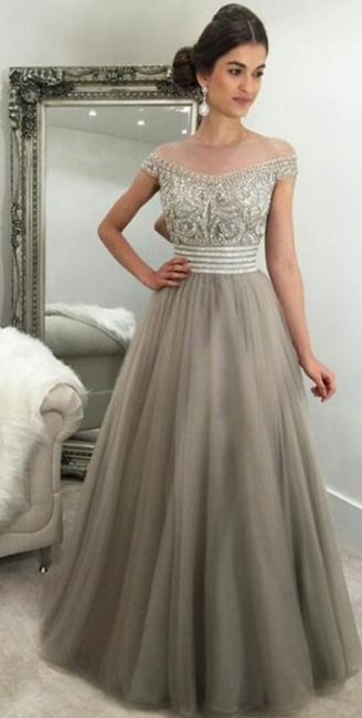 Off The Shoulder Crystals Prom Dresses  Silver Grey Tulle Gorgeous Evening Gown