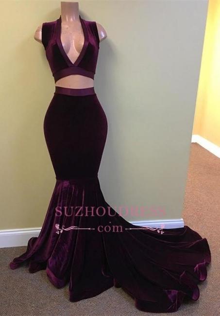 Mermaid Grape Stunning Two-Pieces V-Neck Velvet Prom Dress BA5226