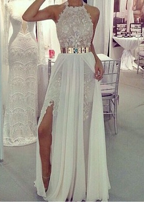 A-Line Halter Chiffon Long Prom Dress with Gold Belt  Lace Floor Length Evening Gown CJ0205A