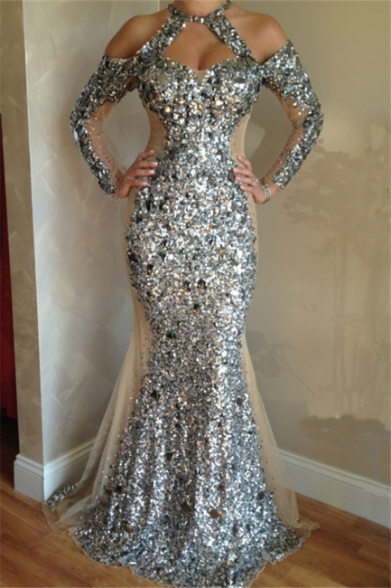 Long Sleeve Halter Silver Sequins Evening Gowns Sleeved Crystals  Formal Dresses