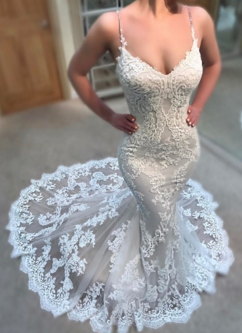 Stunning Lace Appliques Mermaid Wedding Dresses Spaghettis-Straps Lace Bridal Gowns Online
