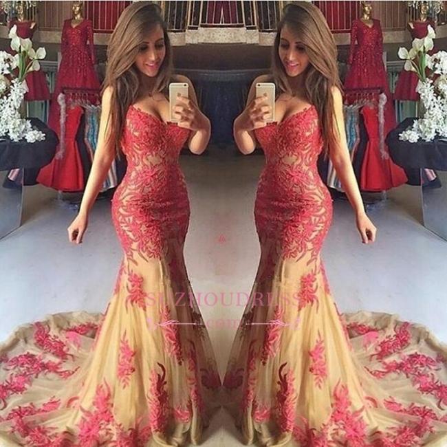 Tulle Sweetheart Elegant Mermaid Appliques Zipper Prom Dress BA5102