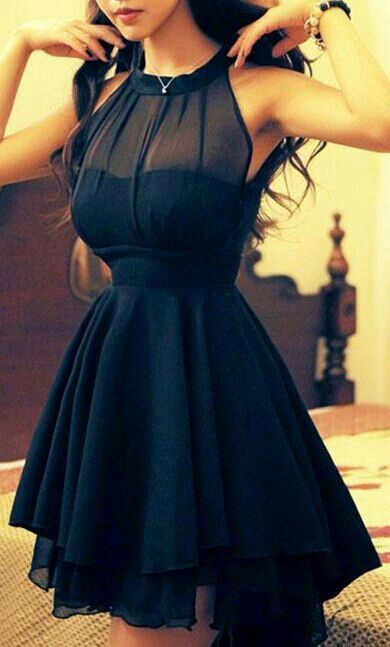 Black  Cocktail Dresses High Neck Short See Through Summer  Simple Homecoming Gowns