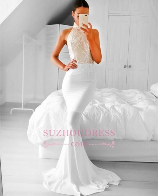 Appliques Mermaid Halter Simple Sleeveless Prom Dress