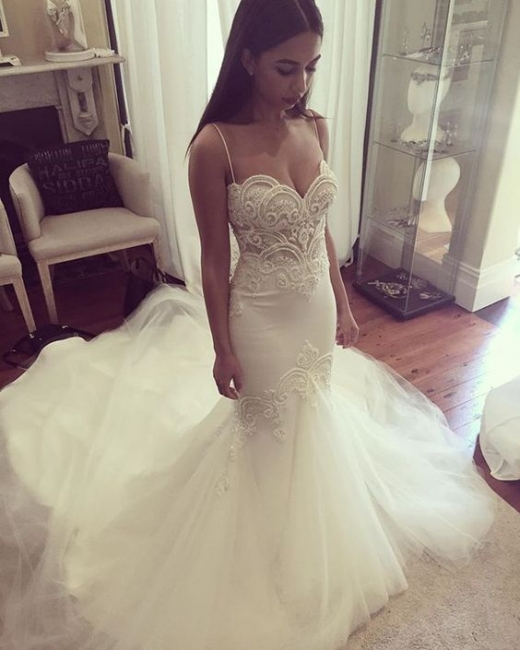 Pretty Spaghetti Straps Sweetheart Wedding Dress  Summer Sheath Tulle Bridal Gown