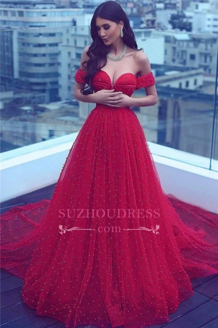 Court-Train Amazing Beading A-line Red Off-the-shoulder Sweetheart Evening Dress