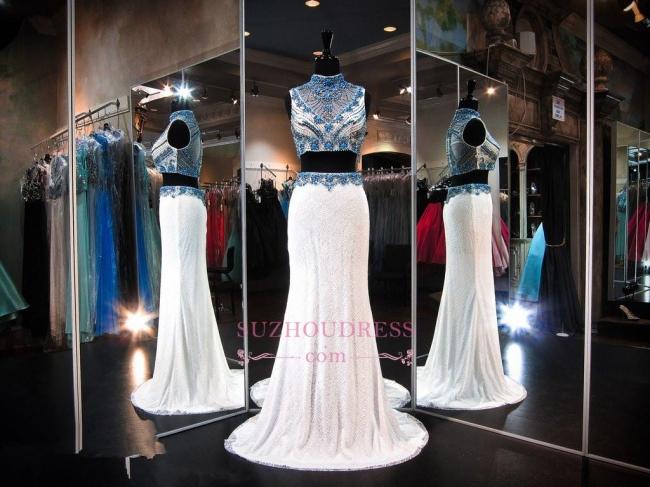 High-Neck Gorgeous Lace Two-Piece Zipper Sleeveless Crystals Evening Dress