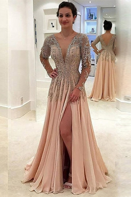 Glamorous V-Neck Long Sleeves Prom Dresses  | A-line Crystal Side Slit Evening Gowns