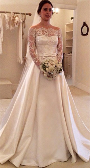 Latest Bateau Long Sleeve Satin Bridal Gowns Formal Lace Bowknot Beadings Long Wedding Dress