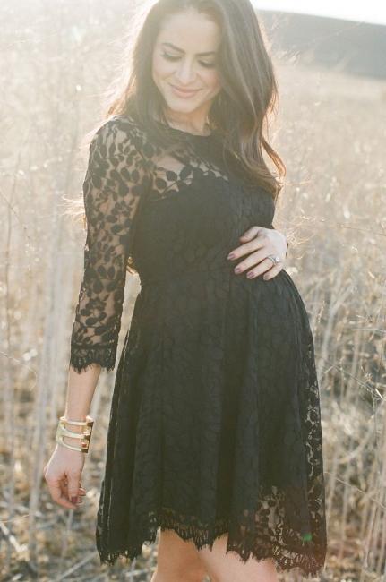 Elegant Black Lace Maternity Dress 3/4 Long Sleeve Short Baby Shower Dresses BA3560