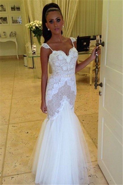 Straps Sweetheart Wedding Dress  Mermaid Lace Tulle Backless Wedding Gowns