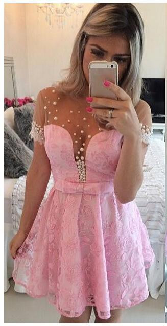 Lovely  Candy Pink Lace Homecoming Dresses Short Sleeves Beaded Sheer Back Matric Dress