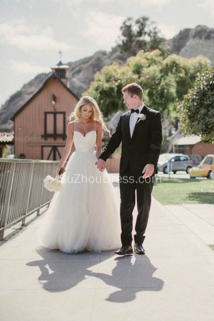 Cute Spaghetti Straps Sweetheart Princess Wedding Dresses Tulle Ball Gown Floor Length Bridal Gowns