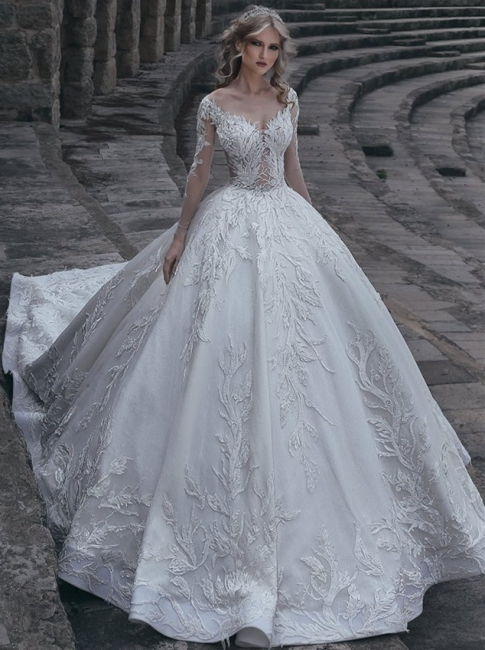 Glamorous Appliques Lace Wedding Dresses Long Sleeve Bridal Gowns On Sale