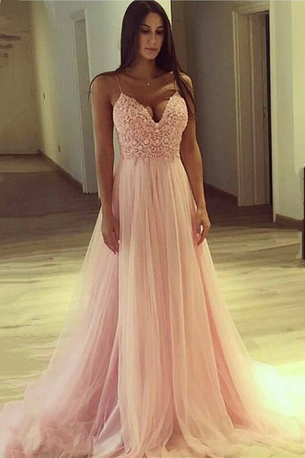 Spaghetti Straps V-neck Pink Prom Dress   Lace Tulle Sleeveless Sexy Evening Gown