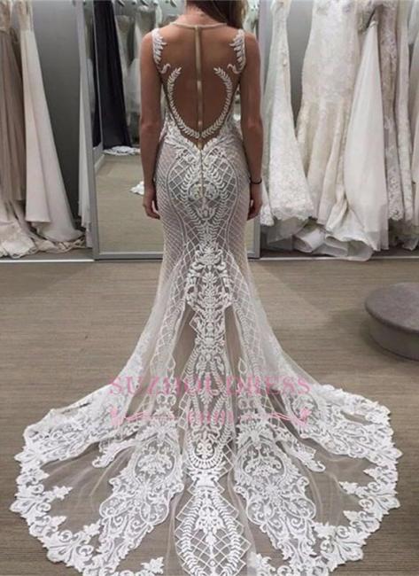 Sleeveless Lace Detachable-Train Illusion Zipper Delicate Wedding Dress BA4005